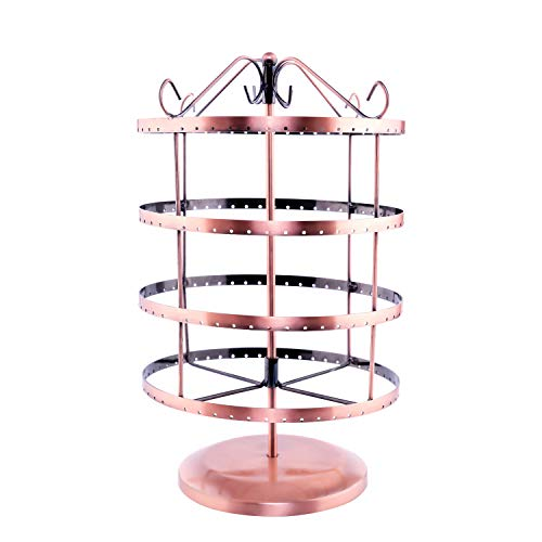 QILICHZ 360 rotting Degree Metal Bronze Color Earring Spinner Jewelry Display Stands Hanging Organizer Tower for Dangle Earring Bracelets Holder Shows(4 Tiers 92 Pairs)