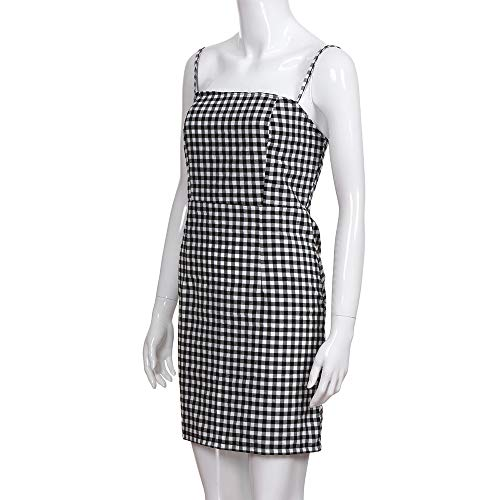 Women Summer Dress,Ladies Backless Plaid Printed Strap Sleeveless Party Sexy Mini Dresses (XL, Black) by Woaills-Tops (Image #5)