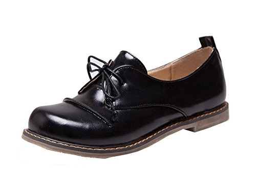 VogueZone009 Women's Low-Heels PU Solid Lace-up Round Closed Toe Court Shoes Black HblRT