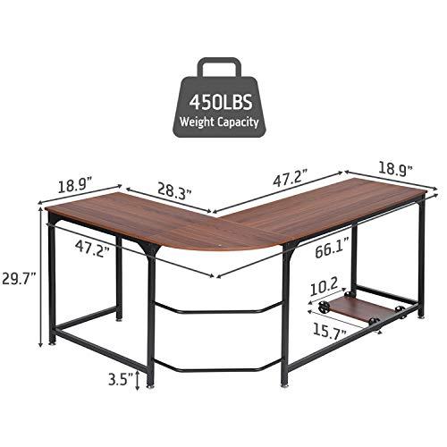 Simlife Large Modern L-Shaped Computer Desk Corner Laptop PC Workstation Writing Table Home Office Furniture Metal Wooden Crafting Desks