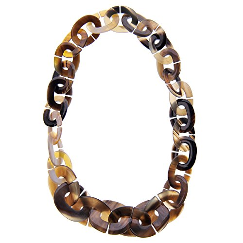 Marycrafts Womens Handmade Buffalo Horn Fashion Oval Chain Necklaces Grey Amber ()