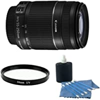 Canon EF-S 55-250mm f/4.0-5.6 IS II Telephoto Zoom Lens (White Box) With UV Filter & Celltime Cleaning Kit