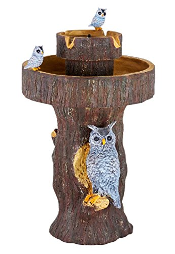 [Smart Living Home and Garden 34253RM1 Owl 2-Tier on Demand Fountain with Integrated Panel and Water Pump, Designed For Low Maintenance and Requires No Wiring or Operating Costs] (2 Tier Solar Birdbath Fountain)