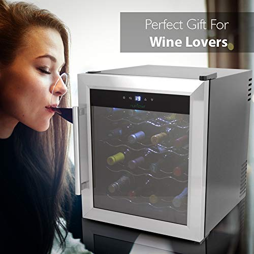 NutriChef 16 Bottle Thermoelectric Wine Cooler / Chiller | Counter Top Red And White Wine Cellar | FreeStanding Refrigerator, Quiet Operation Fridge | Stainless Steel by NutriChef (Image #5)
