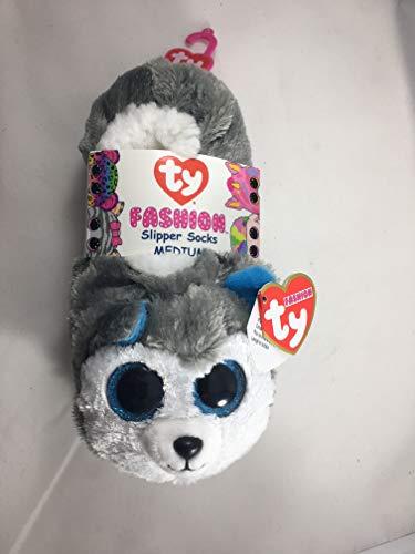 Price comparison product image TY Beanie Baby Boos Fashion Slipper Sock Slush The Husky Dog (Medium 1/3) - Blue Funchop with Purchase