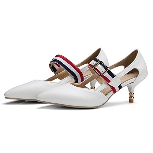 COOLCEPT Women Fashion Ankle Strap Mary Janes Court Shoes Closed Toe Pumps Middle Heel Shoes White 7MB1SpjBN