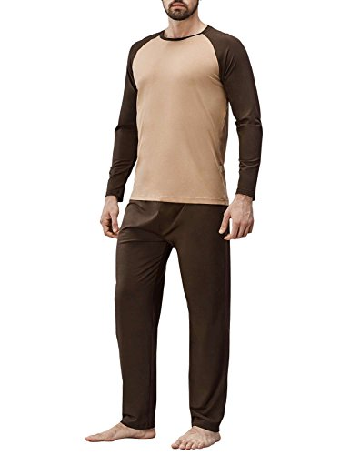 David Archy Men's Cotton Modal Sleepwear Long Sleeve Top ...