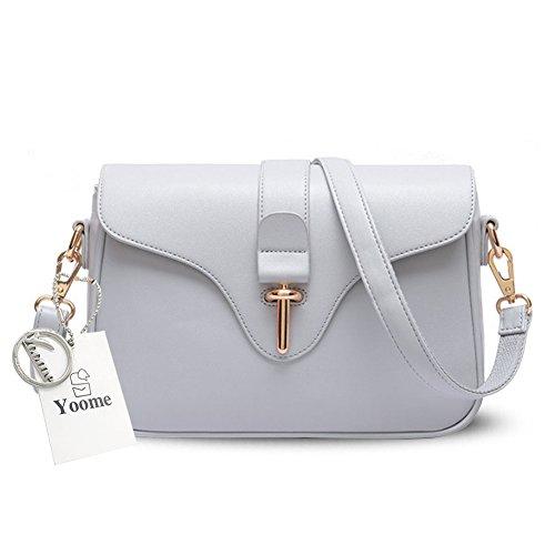 Yoome gran capacidad de bolsos retro hebilla simple para mujeres damas carteras con correas de hombro - gris Gris