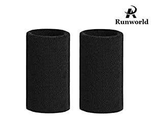 Runworld 6 Inch Sweatband / Cotton Sports Basketball Football Tennis Absorbent Wristband - Terry Cloth Athletic Wrist Sweat band Fits to Men Women (Pair) (Black)