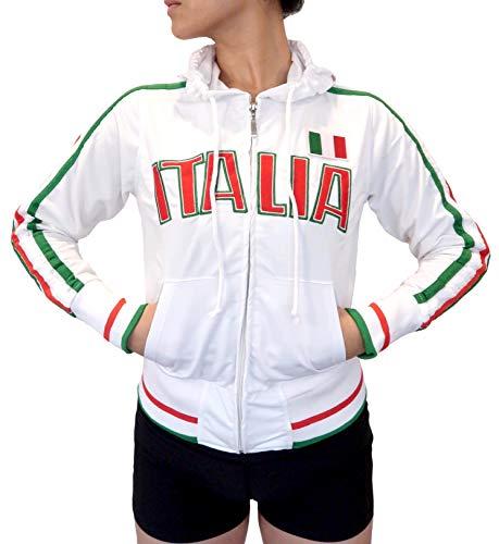 (Swift Pigeon Apparel Italia Italian Pride Striped Flag Juniors Track Jacket(Large White) )