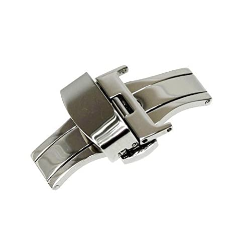 RECHERE 14mm Stainless Steel Push Button Butterfly Deployment Clasp For Leather Watch band Strap - Stainless Steel Butterfly Deployment Clasp