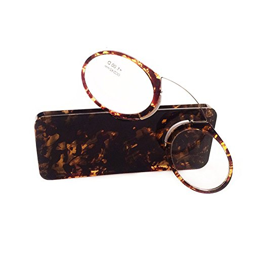 Inlefen Pince Nez Style Mini Nose Reading Glasses Portable Wallet Reading Glasses with Case - On Glasses Sit Your That Nose