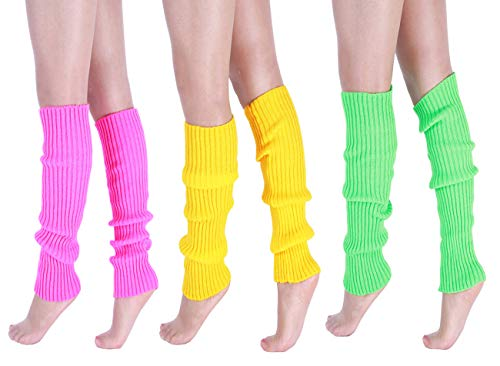 CHUNG Adult Women Juniors Knitted Leg Warmers Neon Party Accessory,Pink+Green+Yellow,3pk]()