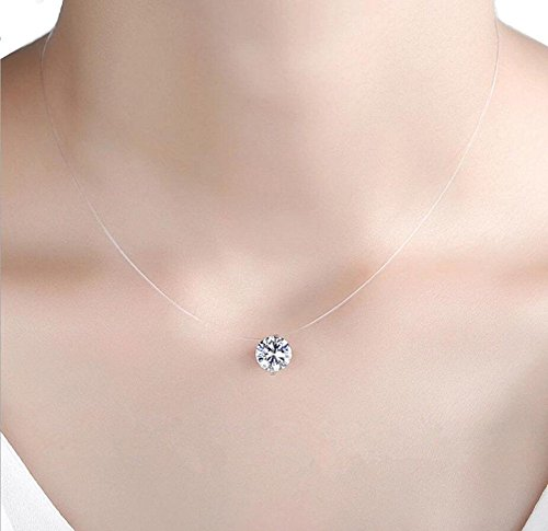 Rhinestone Pendant (QTMY Transparent Clear Invisible Chain Crystal String Cord Rhinestone Zircon Pendant Necklace (8mm))