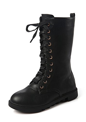 YING LAN Kids Girls Boys Leather Round Toe Military Lace Up Mid Calf Combat Boots Winter Warm Snow Boots Black (Round Toe Girls Boots)