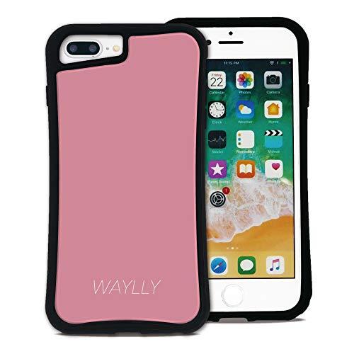 WAYLLY(ウェイリー) iPhone8Plus ケース iPhone 7Plus iPhone6Plus iPhone6sPlus くっつくケース 着せ替え 耐衝撃 Qi対応 米軍MIL規格 [スモールロゴ ベビーピンク] MK