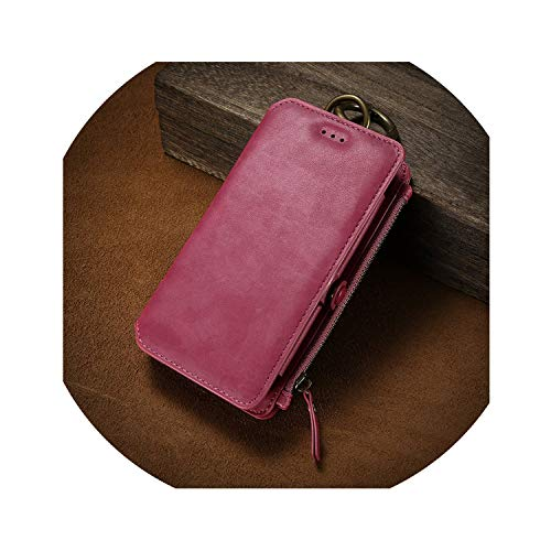 Luxury Retro Wallet Phone Case for iPhone 7 7 Plus XS MAX XR Leather Handbag Bag Cover for iPhone X 7 8 6s 5S Case Coque,Hot Pink,China,for iPhone 7 8
