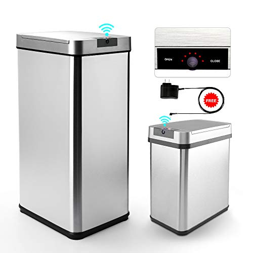 Secura 13 Gallon and 2.4 Gallon Automatic  with Odor-Absorbing Filter, Stainless Steel Adjustable Sensor Kitchen Trash Bin with Motion-Sensing Lid, LED Countdown Timer