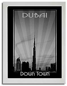 Dubai Skyline Down Town - Black And White F03-nm (a1) - Framed