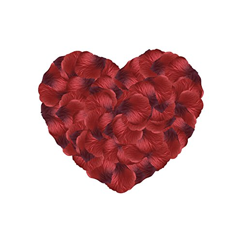Neo LOONS 1000 Pcs Artificial Silk Rose Petals Decoration Wedding Party Color Dark Red & Burgundy