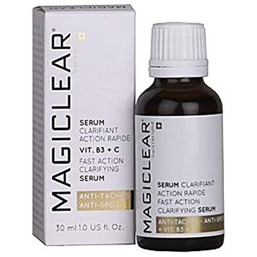 Luxury Serum Dark spot remover for face and body, Acne scar removal serum. Lightening whitening clarifying organic serum anti age Vitamin C.Best Swiss brand Magiclear 30 ml. 100% result guarantee. (The Best Age Spot Remover)