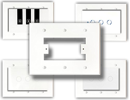SmartPlate, Wall Plate, Switch Plate for Smart Switches, 3 Gang Electrical Boxes, White Plastic (3 Gang)