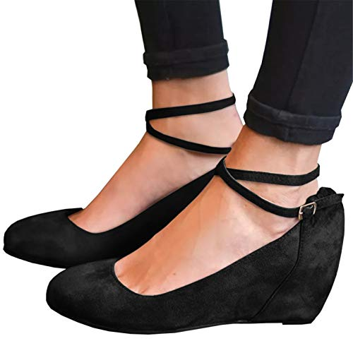 Syktkmx Womens Mary Jane Wedges Pumps Ankle Wrap Mid Heels Round Toe Walking Dress Shoes