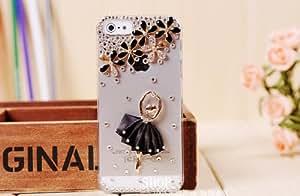 Handmade Elegant Ballet Girl Dress Luxury Designer Bling 3D Colorful Special Crystal Angle Genius Case Cover For HTC Smart Mobile Phones (Droid Incredible 2 S, Black)