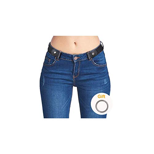No Buckle Belt for Women Plus Size Black Stretch Invisible Belts for Jeans Dress Pants