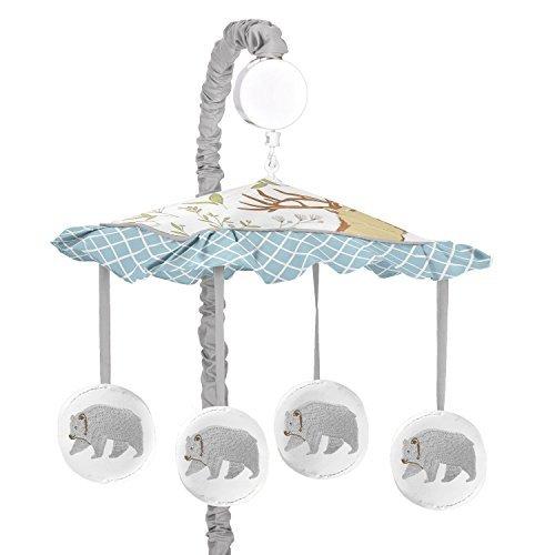 Sweet Jojo Designs Blue, Grey and White Woodland Animal Bear Toile Girl or Boy Musical Baby Crib Mobile