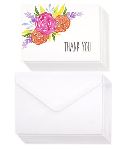 Thank You Cards - 120-Pack Thank You Notes, Watercolor Floral Design, Bulk Thank You Cards Set - Blank on the Inside - Includes Thank You Cards and Envelopes, White, 5.1 x 3.7 Inches