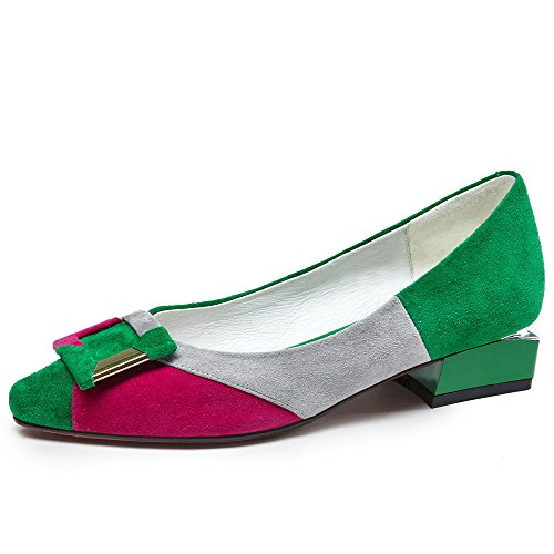 Women's Shoes Nine Leather Handmade Pointy Seven Color Flats Design Suede Green Toe Contrast tPqEPr