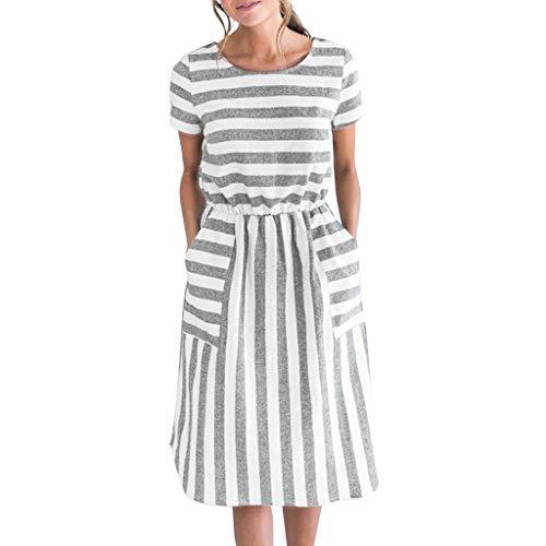 Tantisy ♣↭♣ Women's O-Neck Short Sleeve Striped Dress Elastic Waist Summer Casual A-Line Skirt with Pockets Gray -