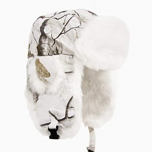 Hunting Camo Snow (Yukon Tracks Alaskan Fur Hat, Small/Medium, Realtree AP Snow White Camo)