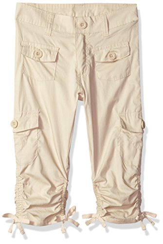 Limited Too Toddler Girls' Fleece Pant, Scrunchy Hem Poplin Cargo Capri Stone, 4T - Kids Cargo Pants