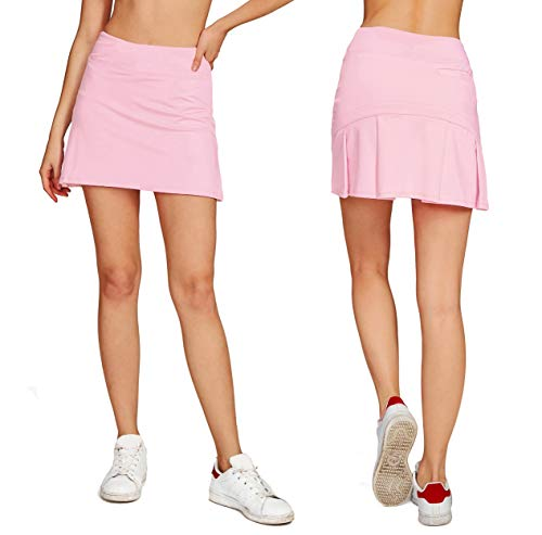 Pleated Golf - Cityoung Women's Casual Pleated Tennis Golf Skirt with Underneath Shorts Running Skorts l_pk XXL