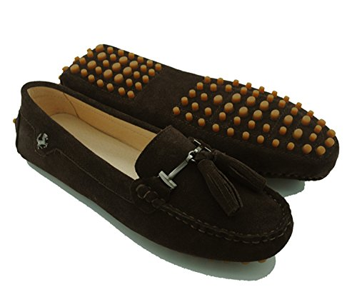 Minishion Dames Casual Kwastje Suède Leren Penny Loafers Mocassins Instapper Casual Suede-bruin