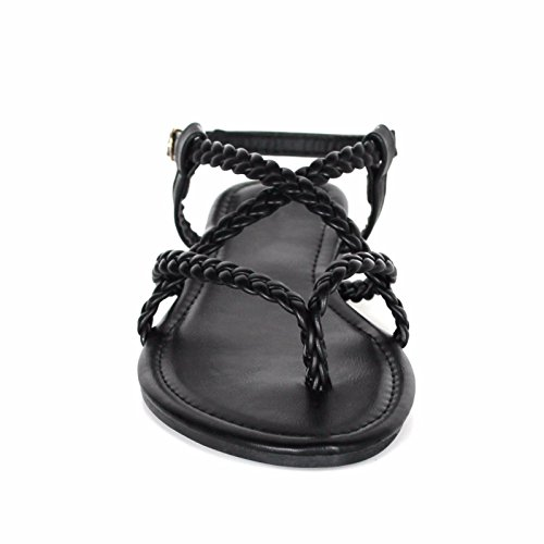 Womens Braided Strappy Gladiator Thong T Strap Flat Faux Leather Sandals Black BE7IQgoJmK