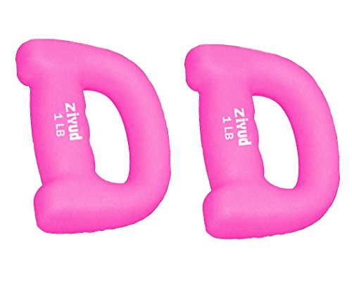 Ziyud Set of 2 Hand Shaped Neoprene Exercise Workout Jogging Walking Cardio Dumbbells Pair (1 Lb. (Pink))