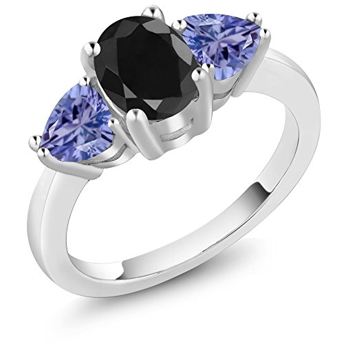 2.46 Ct Oval Black Sapphire Blue Tanzanite 925 Sterling Silver 3 Stone Ring (Trellis Sapphire Ring)