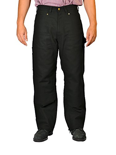 Double Front Canvas Carpenter Jean (Ben Davis Men's Double Knee Carpenter Pants With Utility Pocket (Black, 42W x 30L))