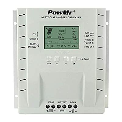 OOYCYOO MPPT Charge Controller 60 amp 12V/24V Auto, 60A Solar Panel Charge Regulator with LCD Display Max 100V, 780W/1560W Input for Lead-Acid Battery and Lithium Battery