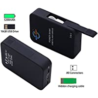 BOCTOP 2-in-1 Portable Charger 5200mAh External Battery Power Bank with 16GB USB Flash Drive memory for Smartphones iPhone, iPad, Samsung Devices and Android Smart Phones
