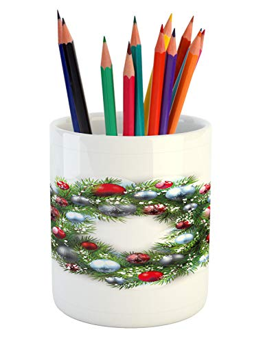 Ambesonne Christmas Pencil Pen Holder, Noel Display with Wreath Holly Spirit Inspired Religious Holiday Design Print, Printed Ceramic Pencil Pen Holder for Desk Office Accessory, Silver Green (Holly Wrap Decor Holiday)