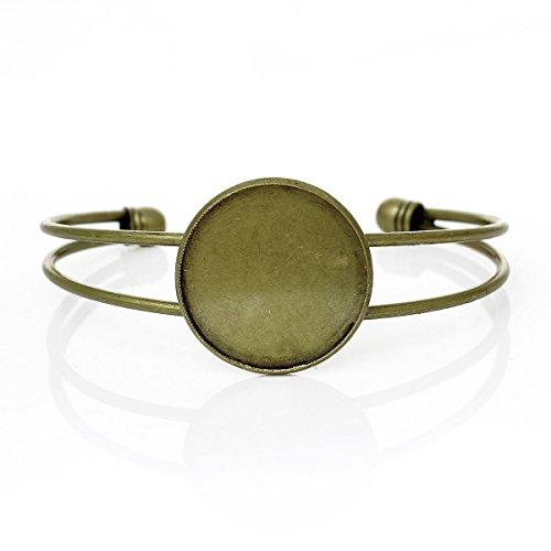 Housweety Bijoux 3 Pcs Bracelets Support de Camee Rond Couleur Bronze 17cm long