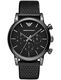 Mens AR1737 Dress Black Leather Watch. Emporio Armani