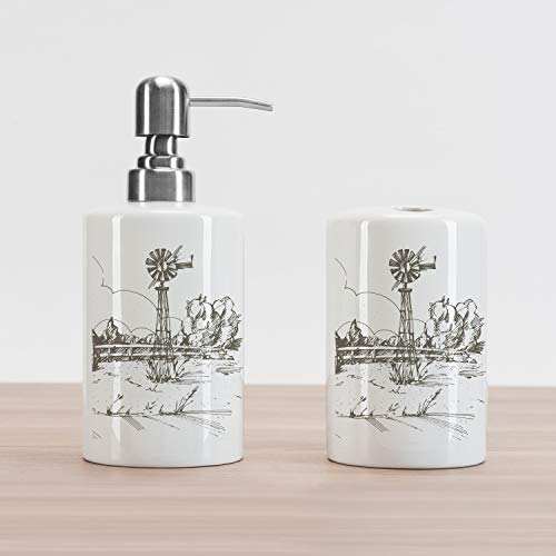 Ambesonne Windmill Soap Dispenser and Toothbrush Holder Set, Rustic Barn Farmhouse Hand Drawn Illustration Countryside Rural Meadow, Ceramic Bathroom Accessories, 4.5