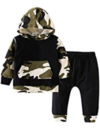 Newborn Baby Boys' Camouflage Hoodie Tops + Pants Outfits Set Kids Clothes