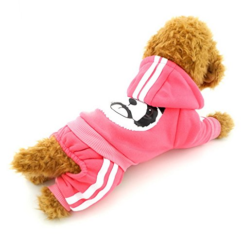 [SELMAI Panda Small Dog Hooded Sweatshirt Fleece Sweater Dog Jumpsuit Outfits Puppy Clothes Pink S] (Dog Outfits For Christmas)