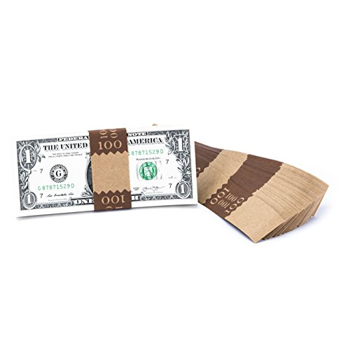 Natural Kraft Saw-Tooth $100 Currency Band Bundles (5000 Bands)